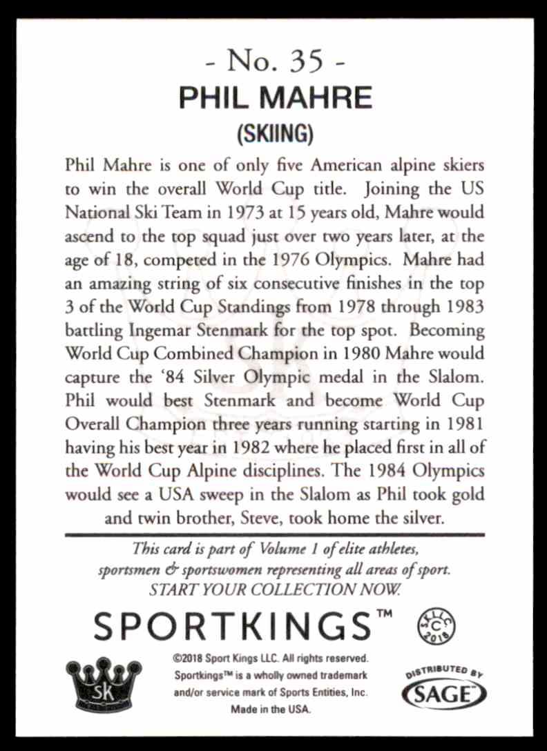 2018 Sportkings Black Back Retail Phil Mahre #35 card back image