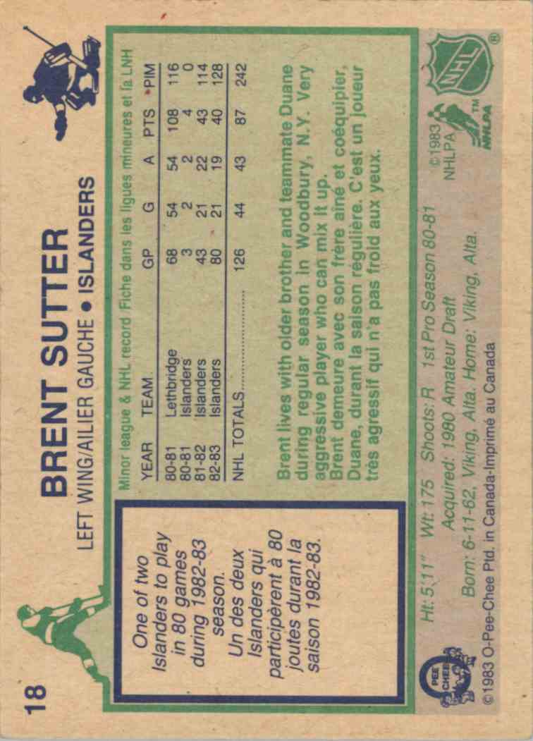 1983-84 O-Pee-Chee Brent Sutter #18 card back image