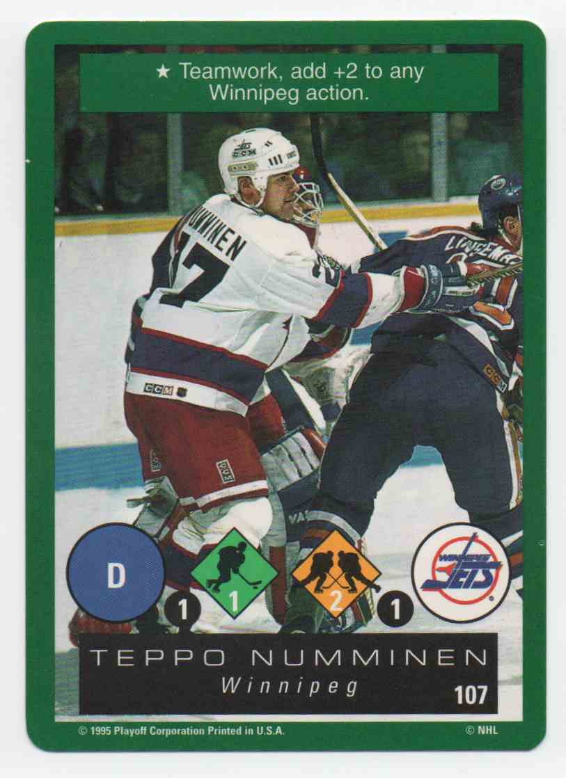 1995-96 Playoff One On One Teppo Numminen #107 card front image