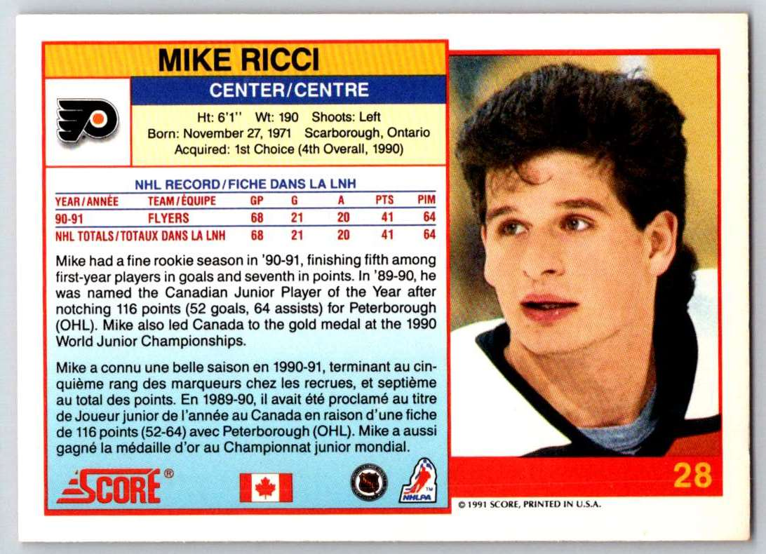 1991-92 Score Canadian Bilingual Mike Ricci #28 card back image