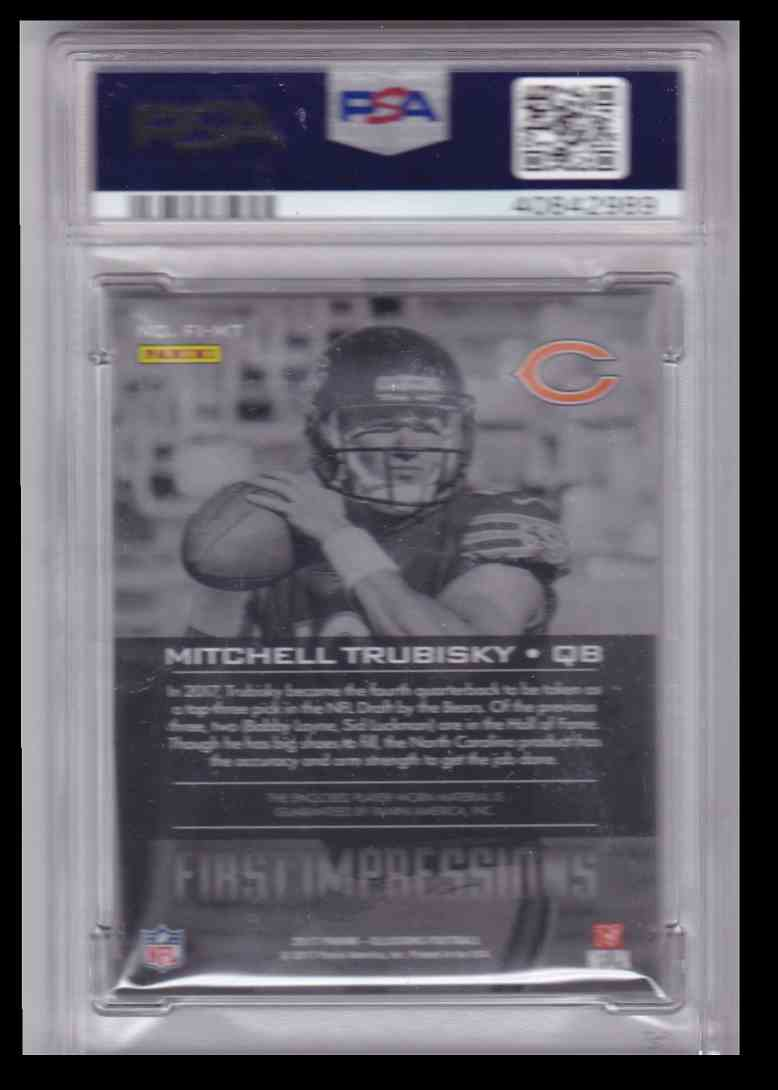 2017 Panini Illusions First Impressions Memorabilia Mitchell Trubisky #989 card back image