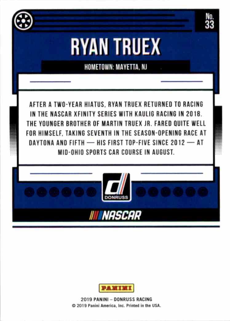 2019 Donruss Ryan Truex #33 card back image
