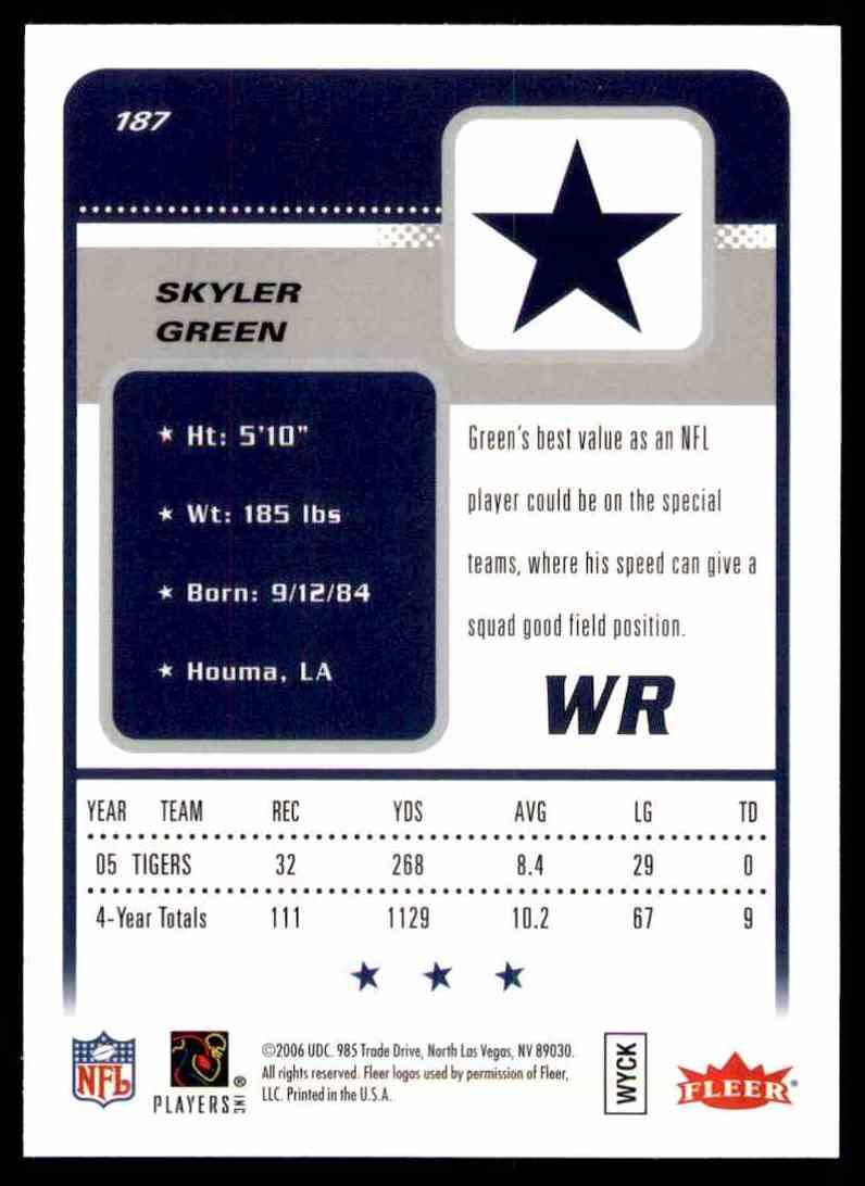 2006 Fleer Skyler Green RC #187 card back image