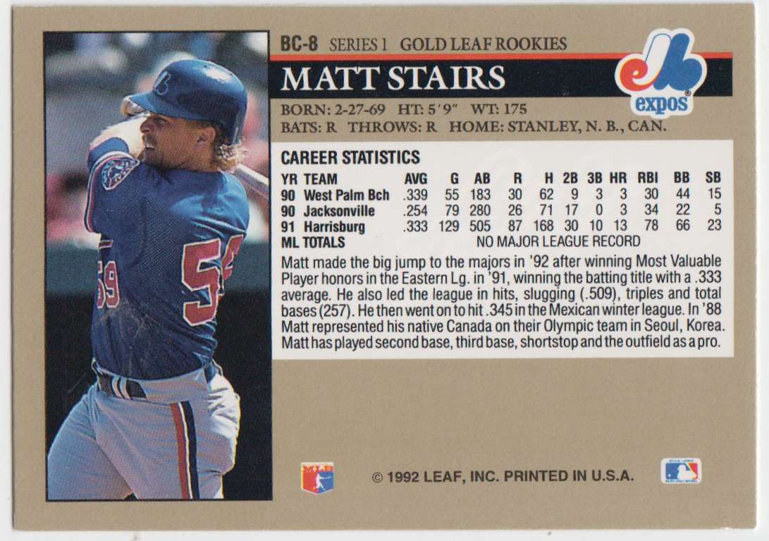 1992 Leaf Gold Rookies Matt Stairs #BC-8 card back image