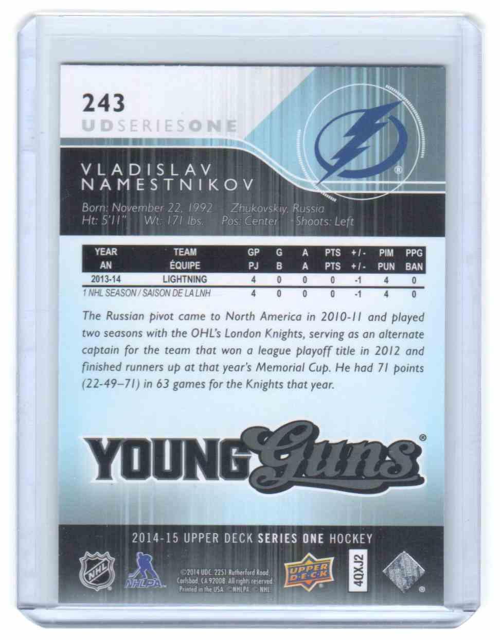 2014-15 Upper Deck Vladislav Namestnikov #243 card back image