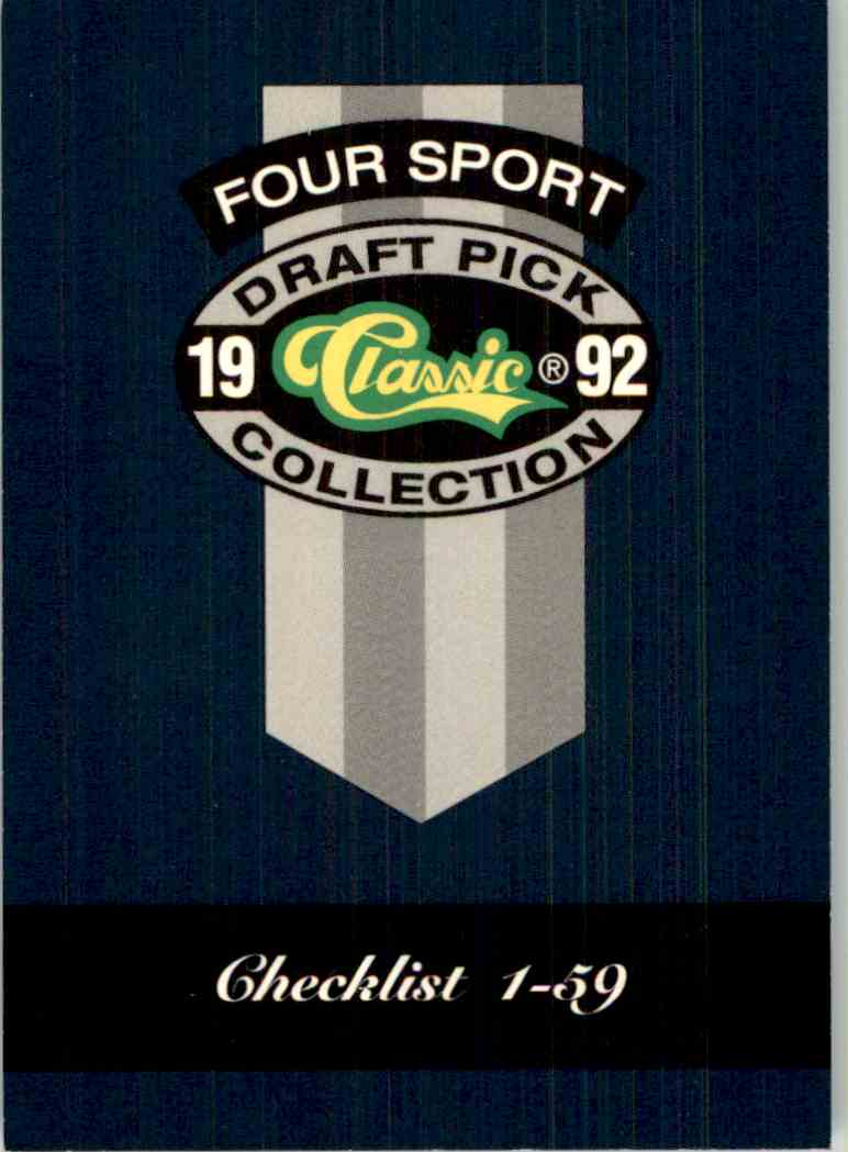 1992-93 Classic Four Sport Checklist #320 card front image