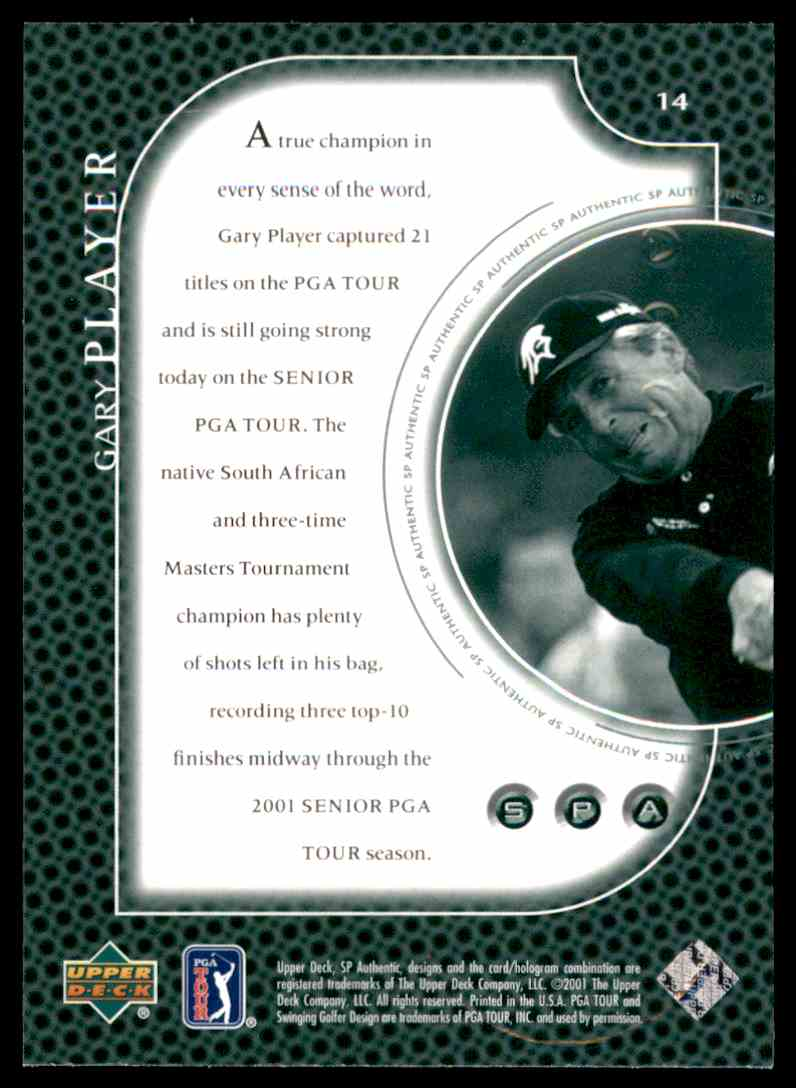2001 SP Authentic Preview Gary Player #14 card back image