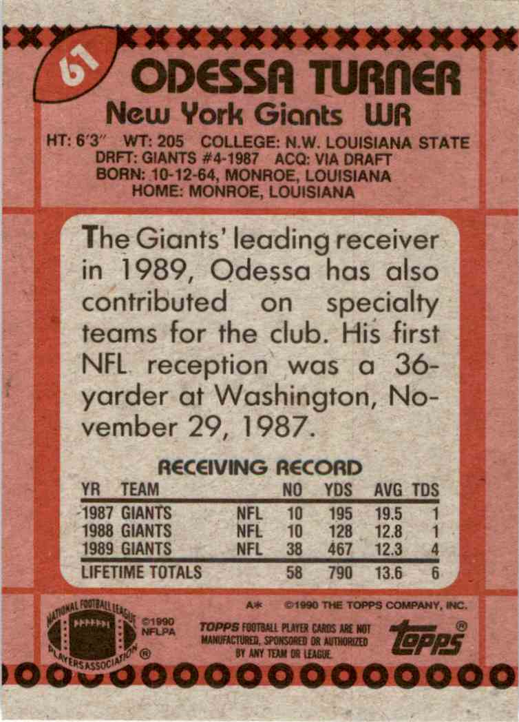 1990 Topps Odessa Turner #61 card back image