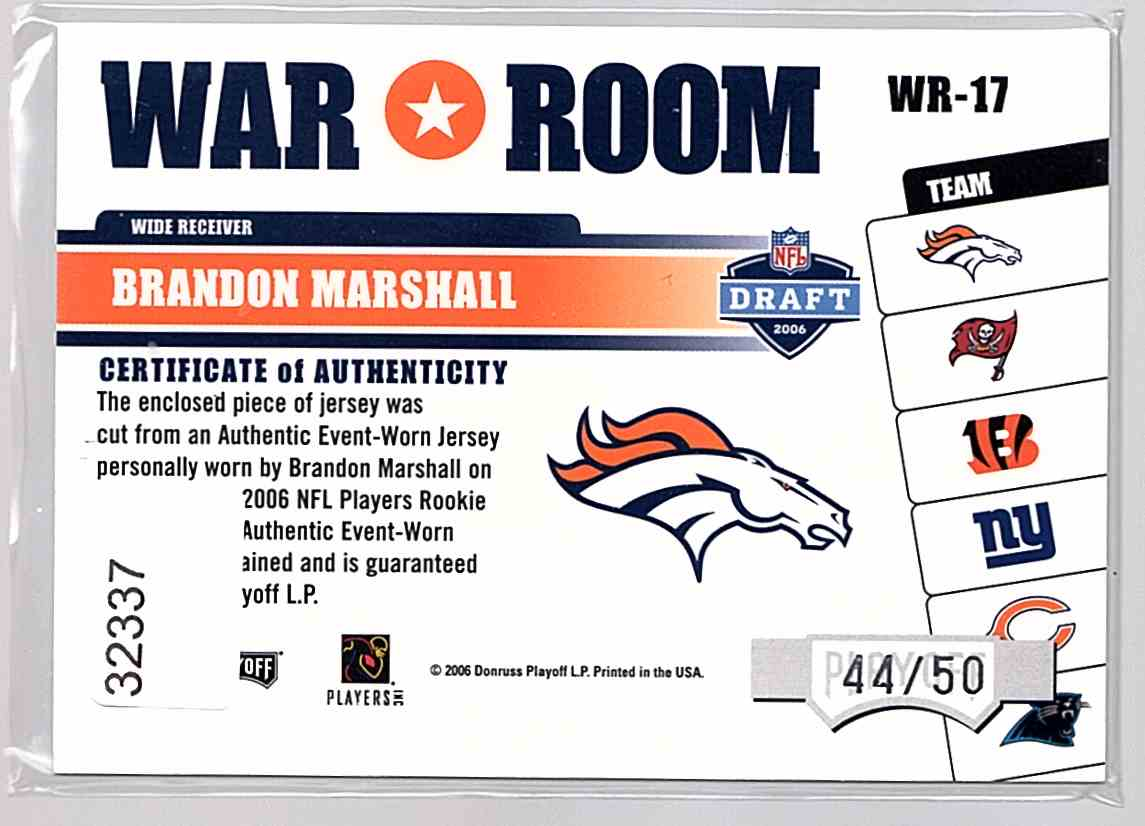 2006 Absolute Memorabilia War Room Materials Prime Brandon Marshall #WR-17 card back image