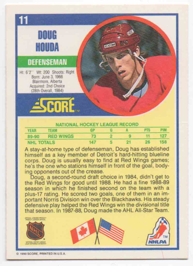 1990-91 Score Doug Houda #11 card back image