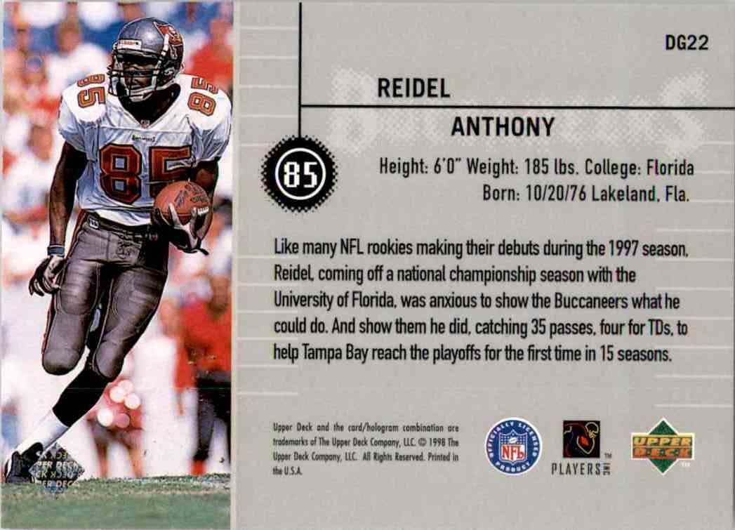 1998 Upper Deck Define The Game Reidel Anthony #DG22 card back image