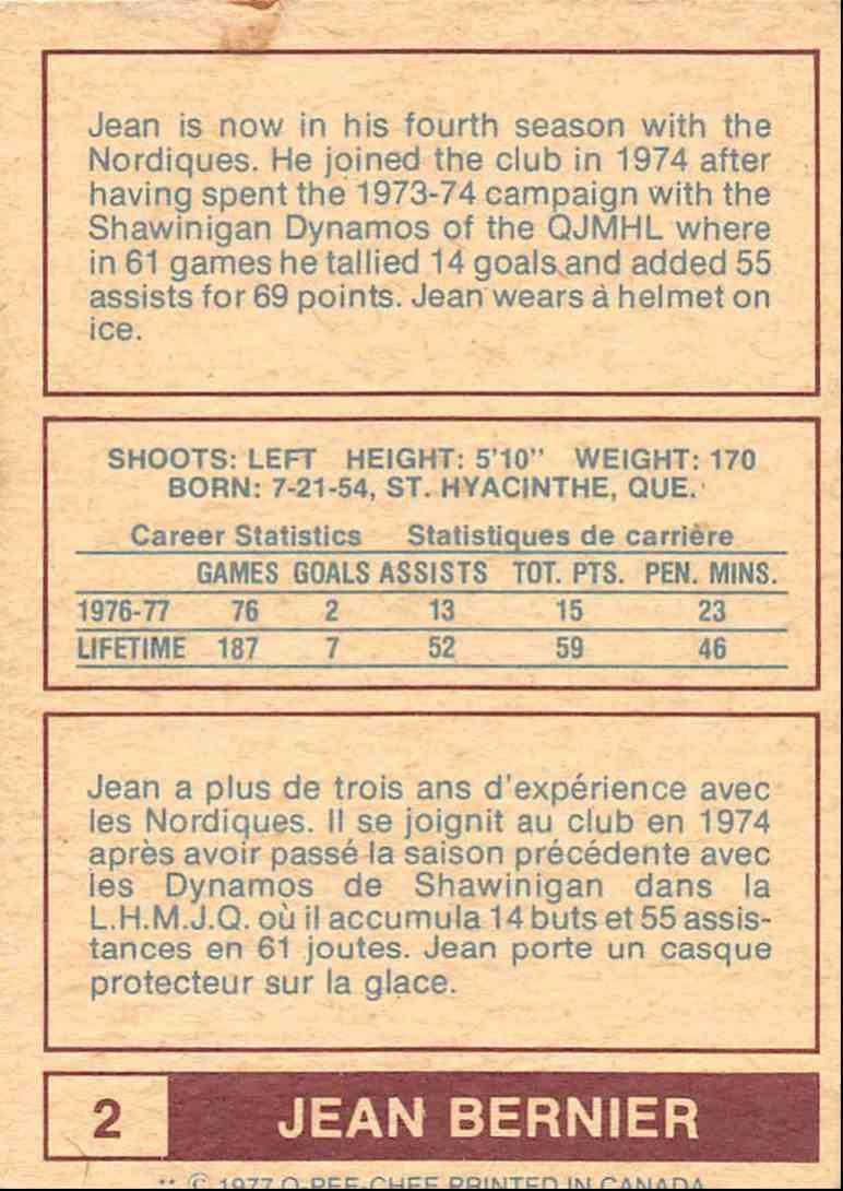 1977-78 O-Pee-Chee Wha Jean Bernier #2 card back image