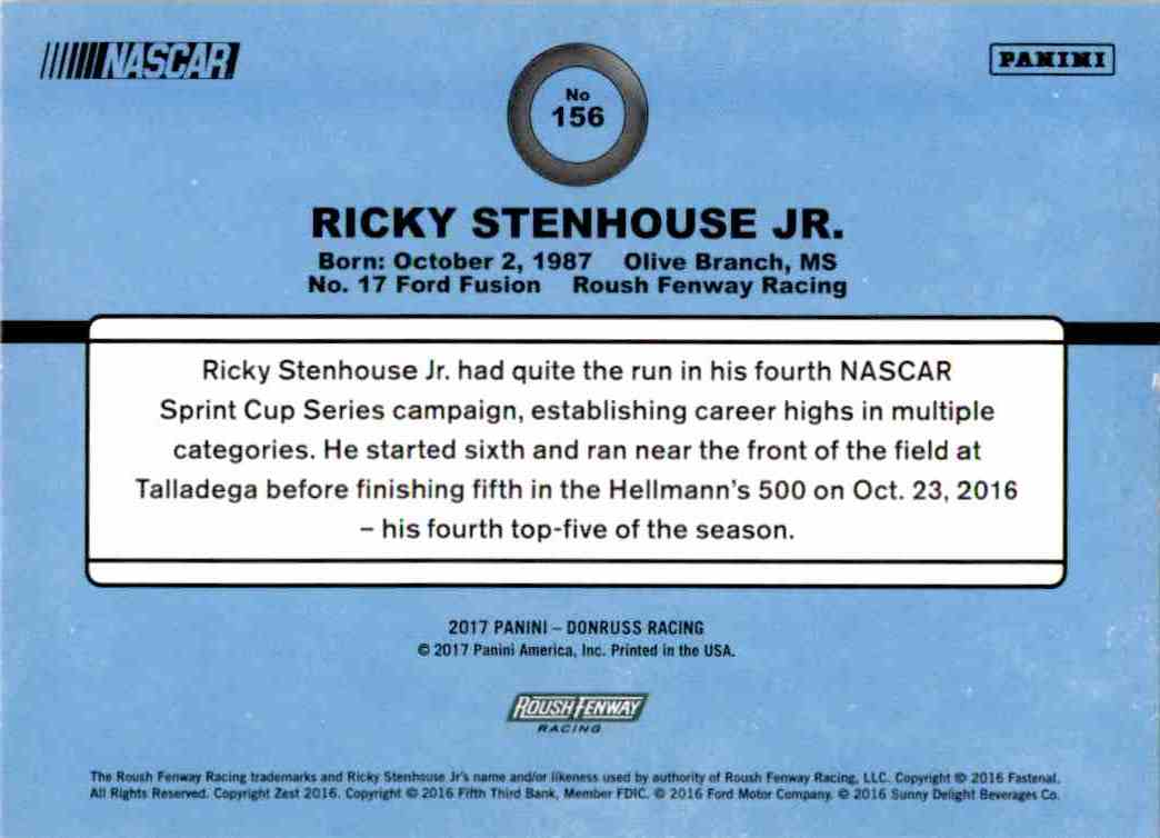 2017 Panini Donruss Racing Ricky Stenhouse JR. #156 card back image