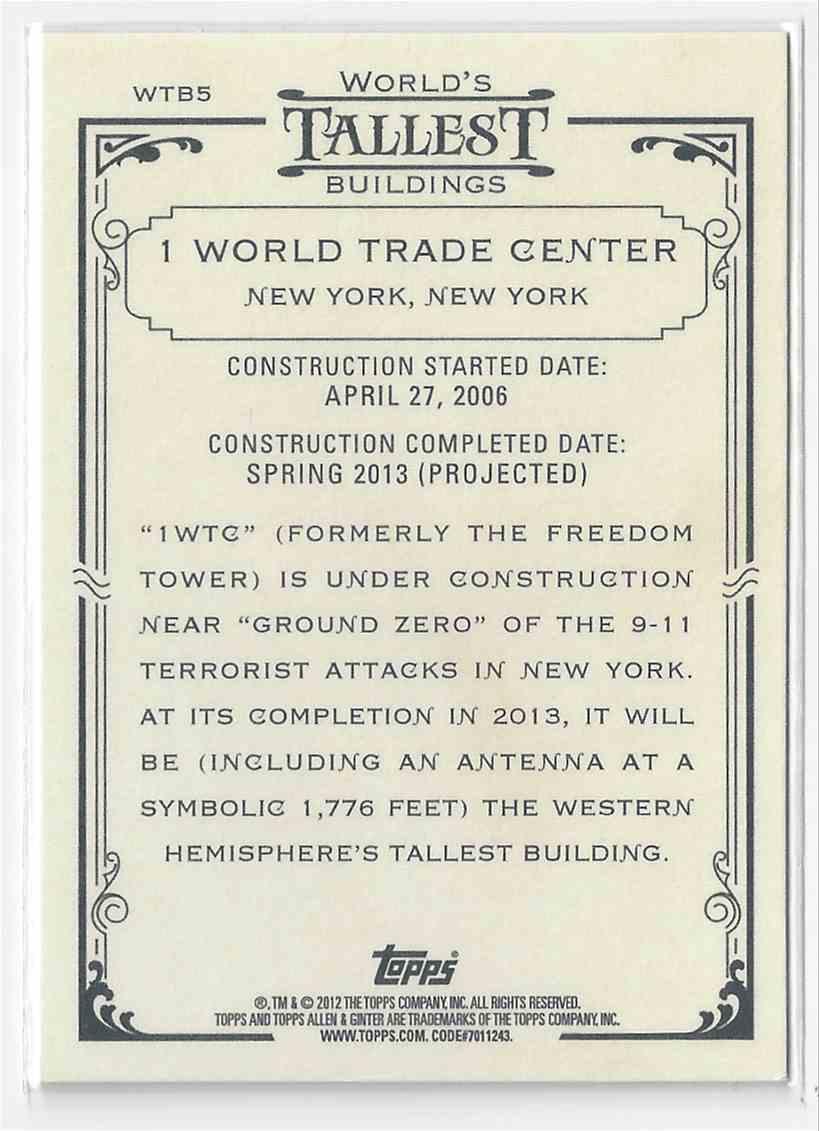 2012 Topps Allen & Ginter 1 World Trade Center #WTB5 card back image