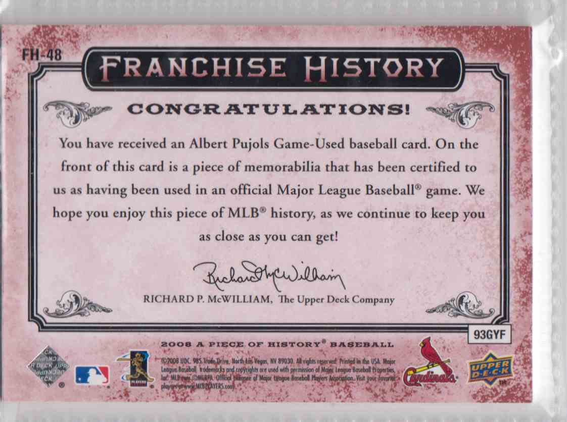 2008 UD A Piece Of History Franchise History Jersey Red Albert Pujols #FH-48 card back image