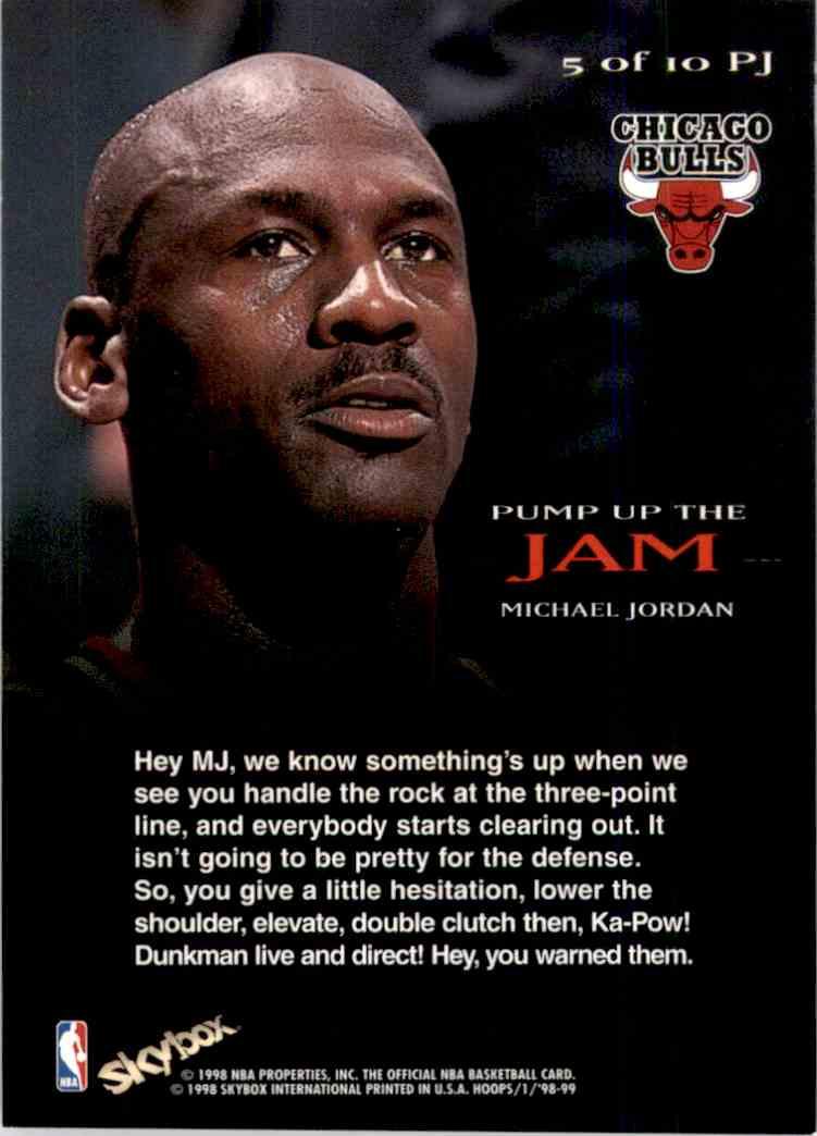 1998-99 Hoops Pump Up The Jam Michael Jordan #5 card back image