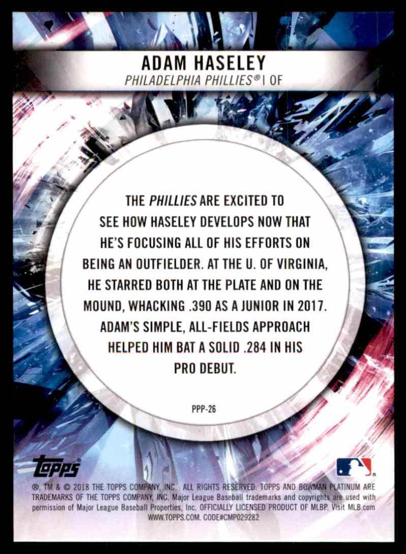 2018 Bowman Platinum Prismatic Prodigies Adam Haseley #PPP-26 card back image