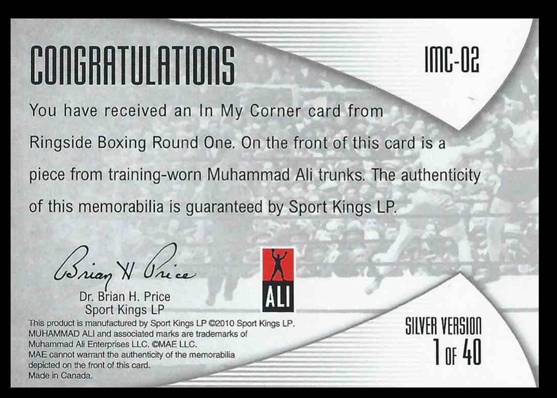 2010 Sport Kings Ringside Boxing Muhammad Ali #IMC02 card back image