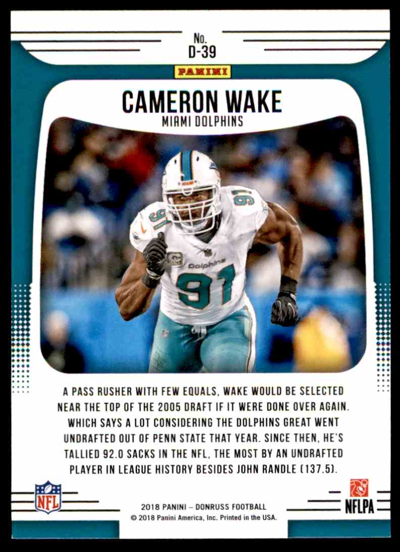2018 Donruss Dominators Cameron Wake #D-39 card back image