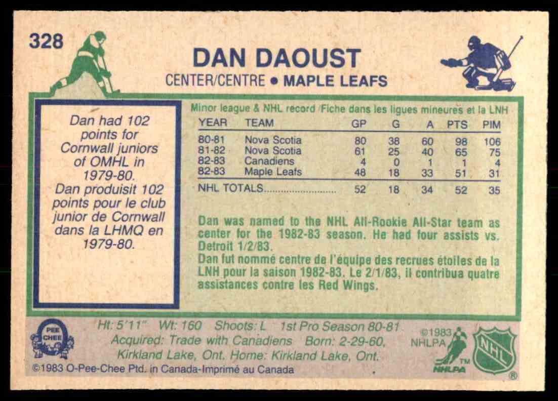 1983-84 O-Pee-Chee Dan Daoust #328 card back image
