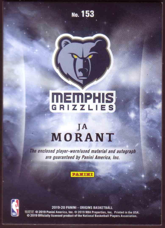 2019-20 Panini Origins Rookie Jersey Autographs Ja Morant #153 card back image