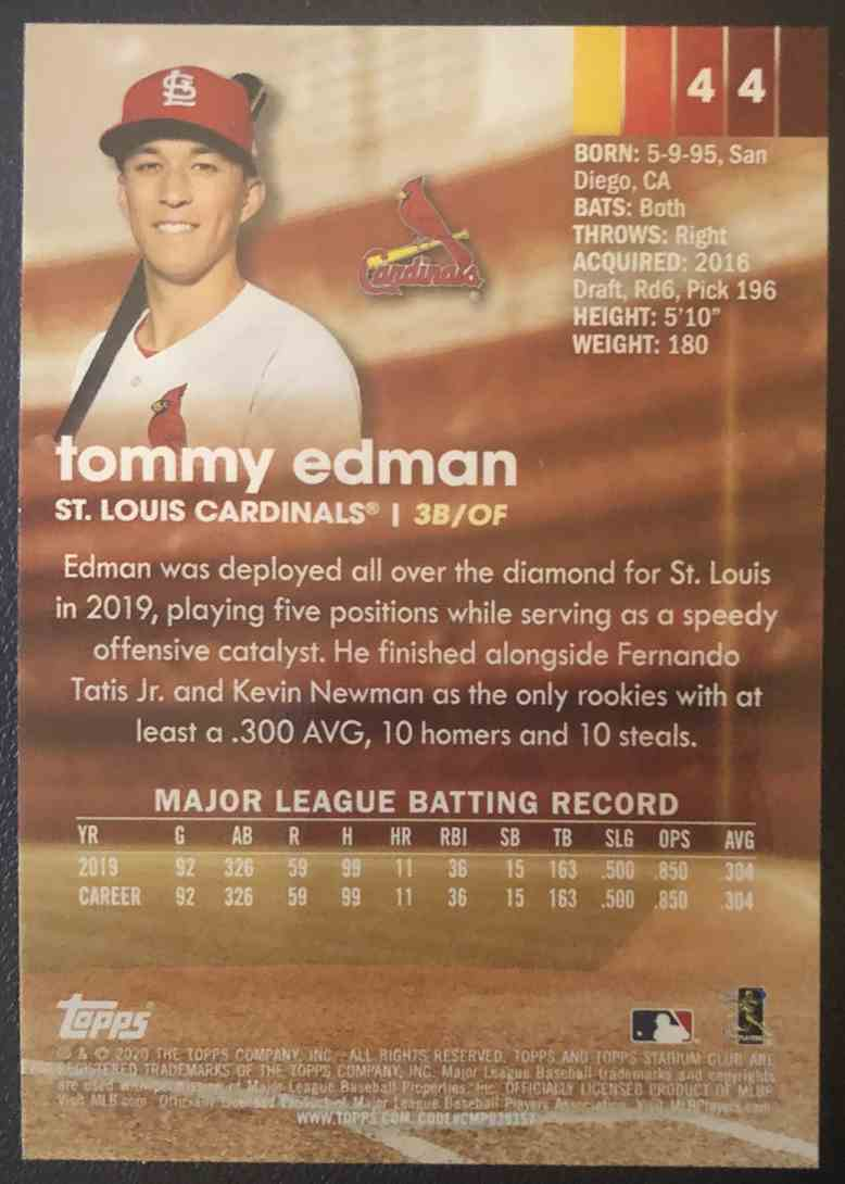 2020 Topps Stadium Club Tommy Edman #44 card back image