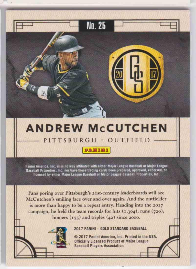 2017 Panini Gold Standard Andrew Mccutchen #25 card back image