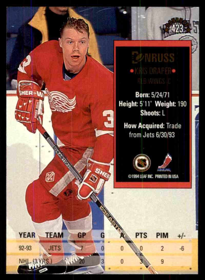 1993-94 Donruss Kris Draper #423 card back image