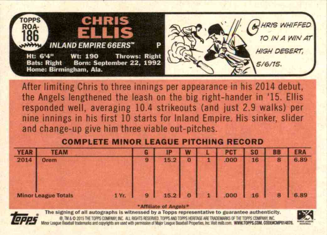 2015 Topps Heritage Minors Real One Autographs Chris Ellis #186 card back image