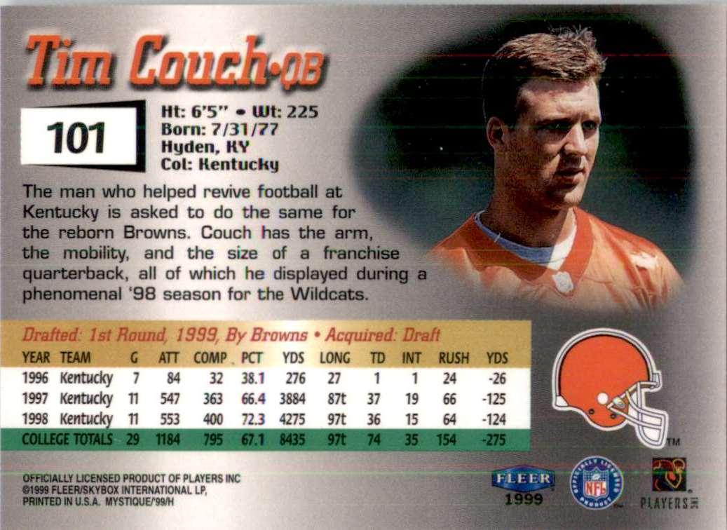 1999 Fleer Mystique Tim Couch RC #101 card back image
