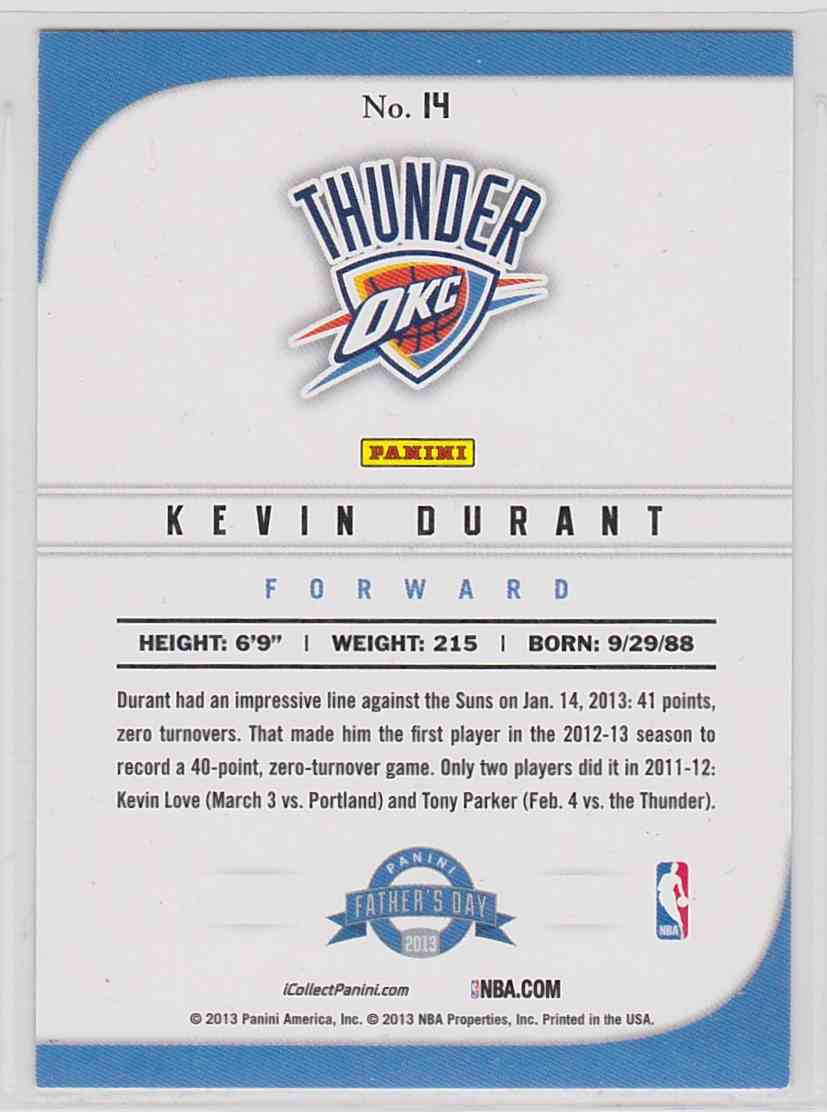 2013-14 Panini Father's Day Cracked Ice Kevin Durant #14 card back image