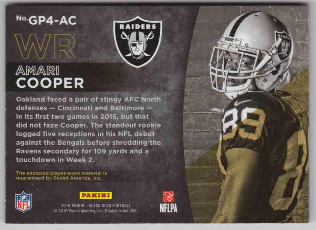 2015 Panini Black Football Gold Prospecting Quad Materials Amari Cooper #GP4-AC card back image