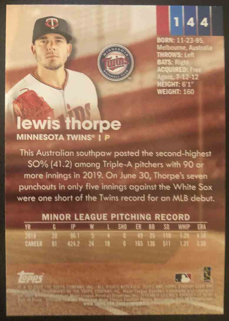 2020 Topps Stadium Club Lewis Thorpe #144 card back image