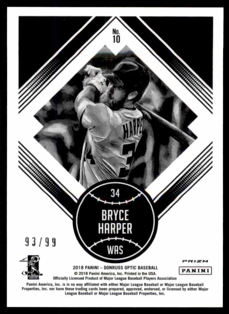 2018 Donruss Optic Red Diamond Kings Bryce Harper #10 card back image