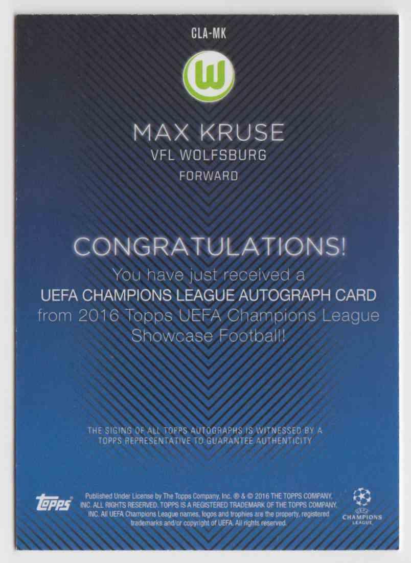 2015-16 Topps UEFA Champions Liga Showcase Max Kruse #CLA Mk Auto