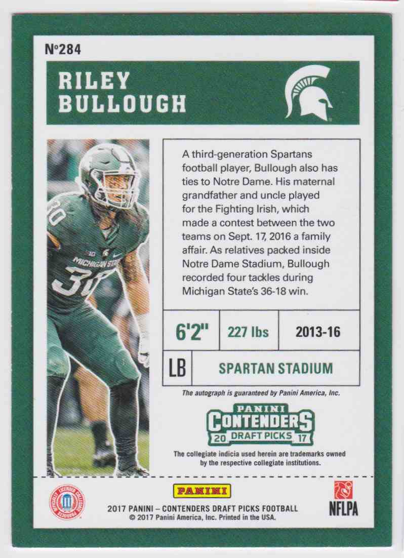 separation shoes 6bf6a afb52 2017 Panini Contenders Buccaneers Riley Bullough #284 on ...