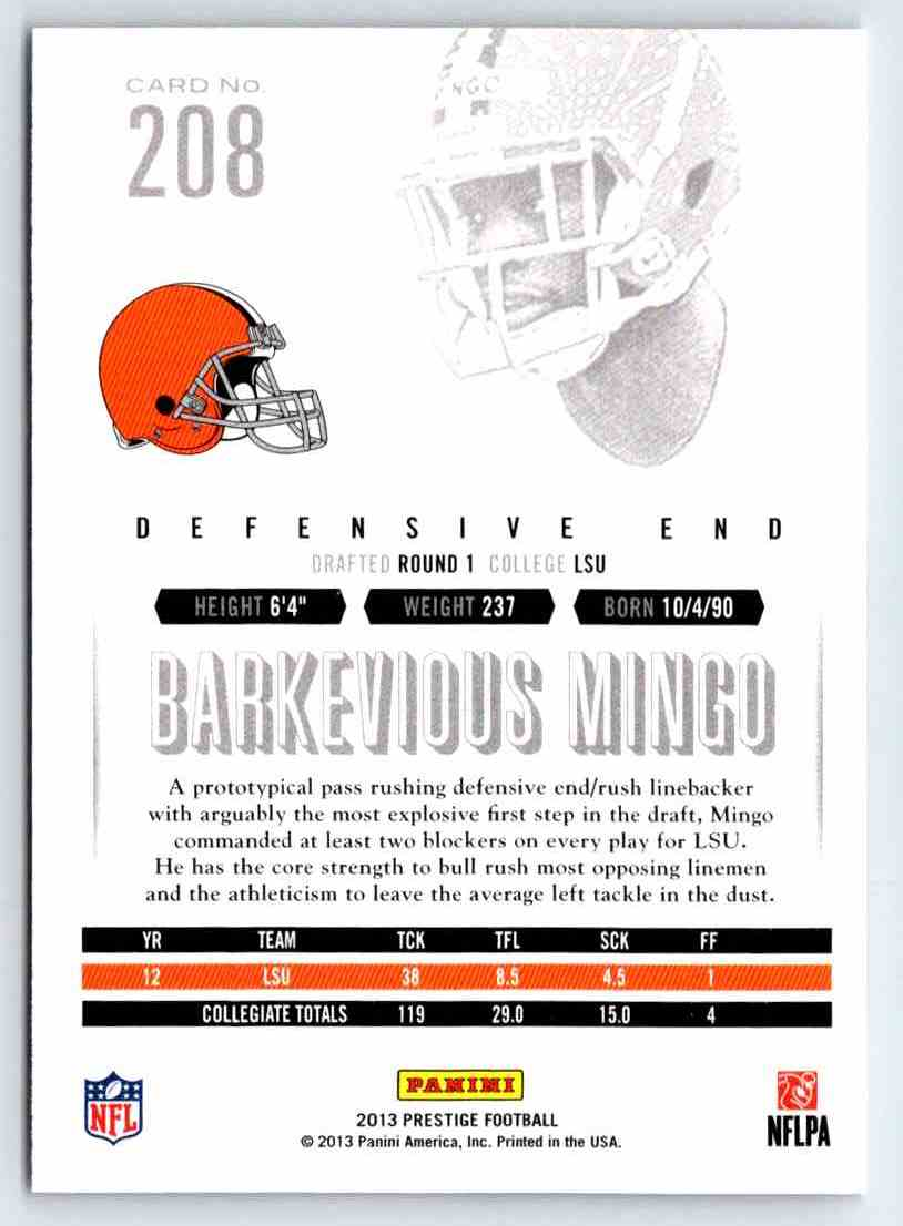 2013 Prestige Barkevious Mingo #208 card back image