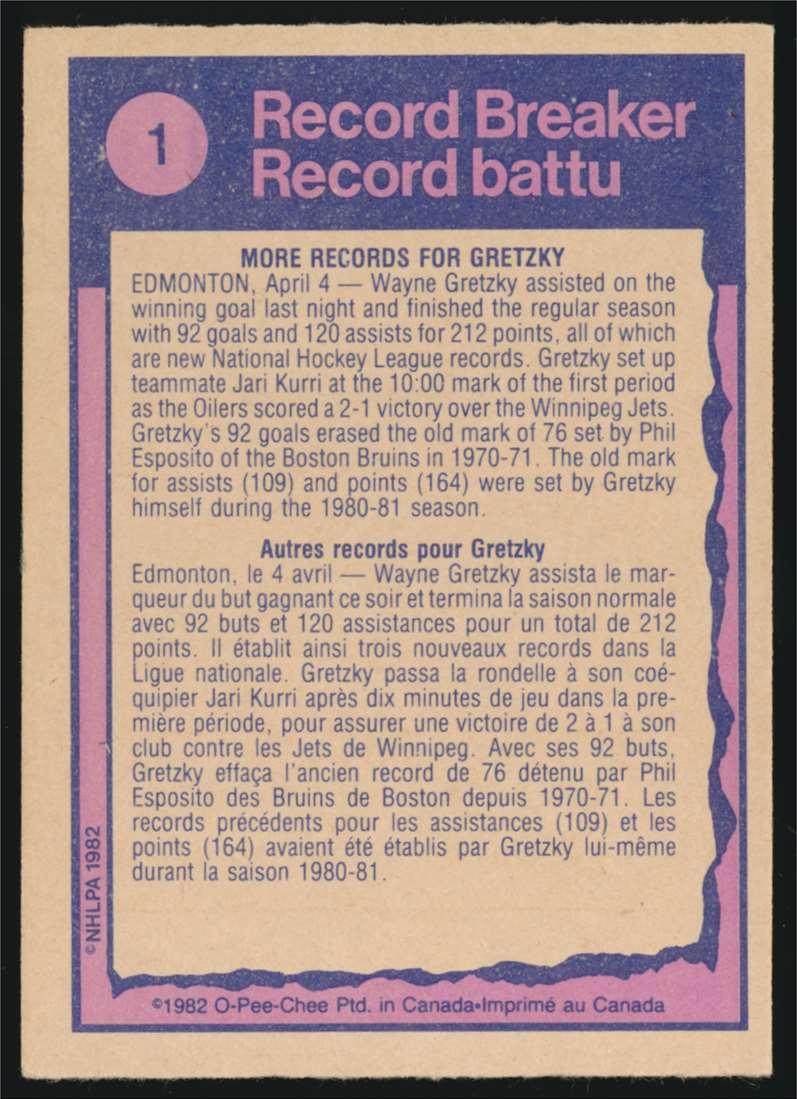 1982-83 OPC Wayne Gretzky Record Breaker #1 card back image
