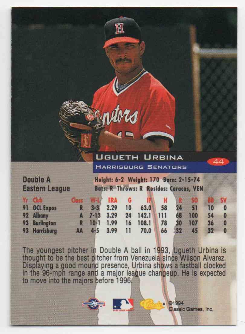 1994 Classic Ugueth Urbina #44 card back image