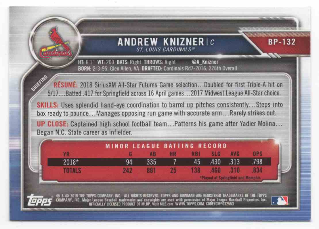 2019 Bowman Prospects Andrew Knizner #BP132 card back image