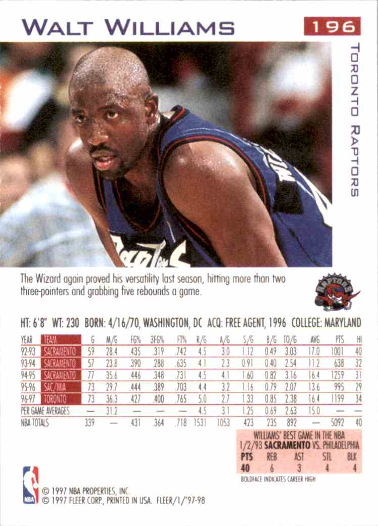 1997-98 Fleer Walt Williams #196 card back image