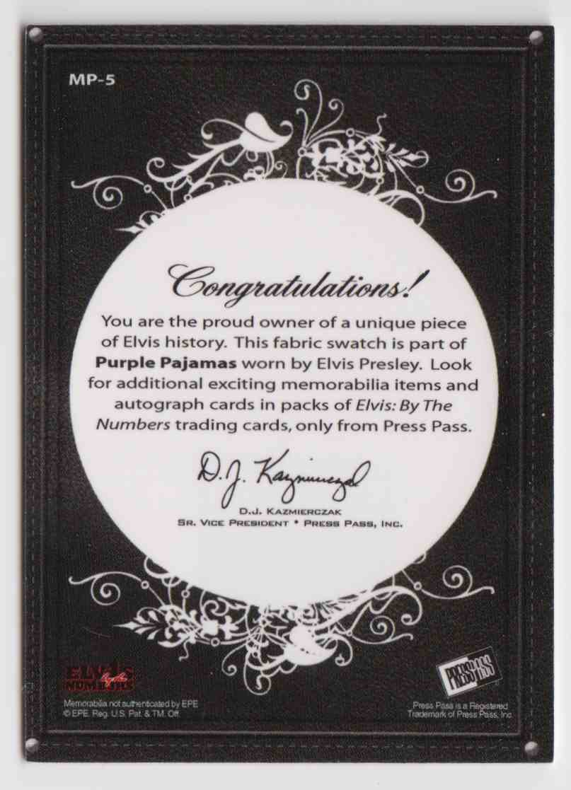 2008 Press Pass By The Numbers Silver Elvis Presley #MP-5 card back image