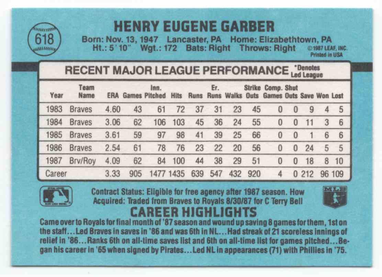 1988 Donruss Gene Garber #618 card back image
