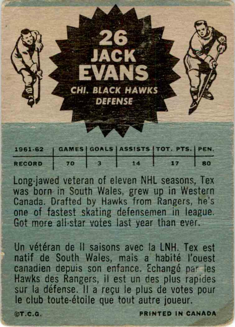 1962-63 Topps Jack Evans #26 card back image