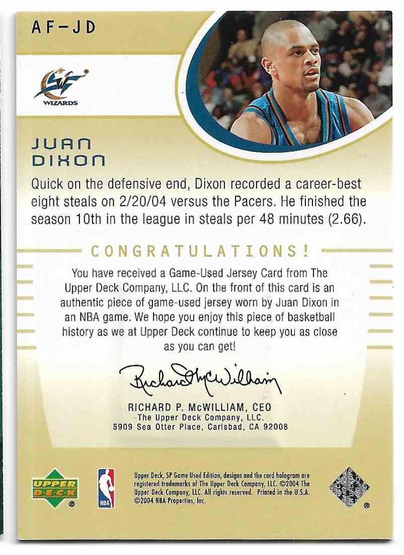 2004-05 Upper Deck SP Game Used Edition Juan Dixon #AF-JD card back image