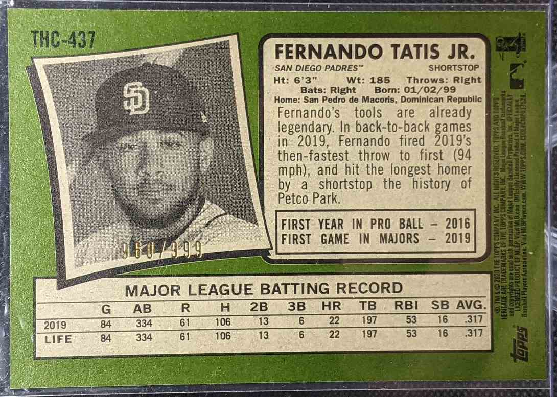2020 Topps Heritage All-Star Rookie Cup Fernando Tatis JR. #THC-437 card back image
