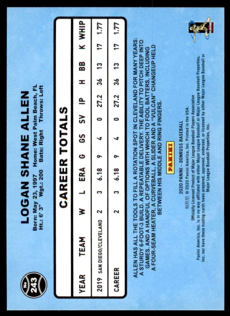 2020 Donruss SP Photo Variation Logan Allen #243 card back image