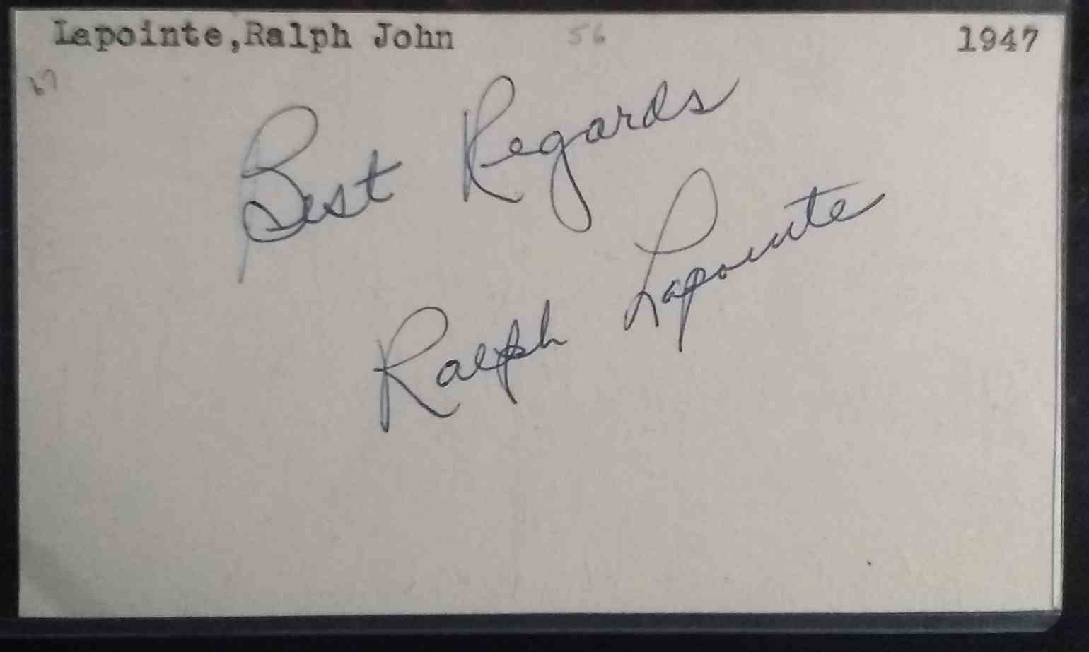 1947 3X5 Ralph LaPointe card back image