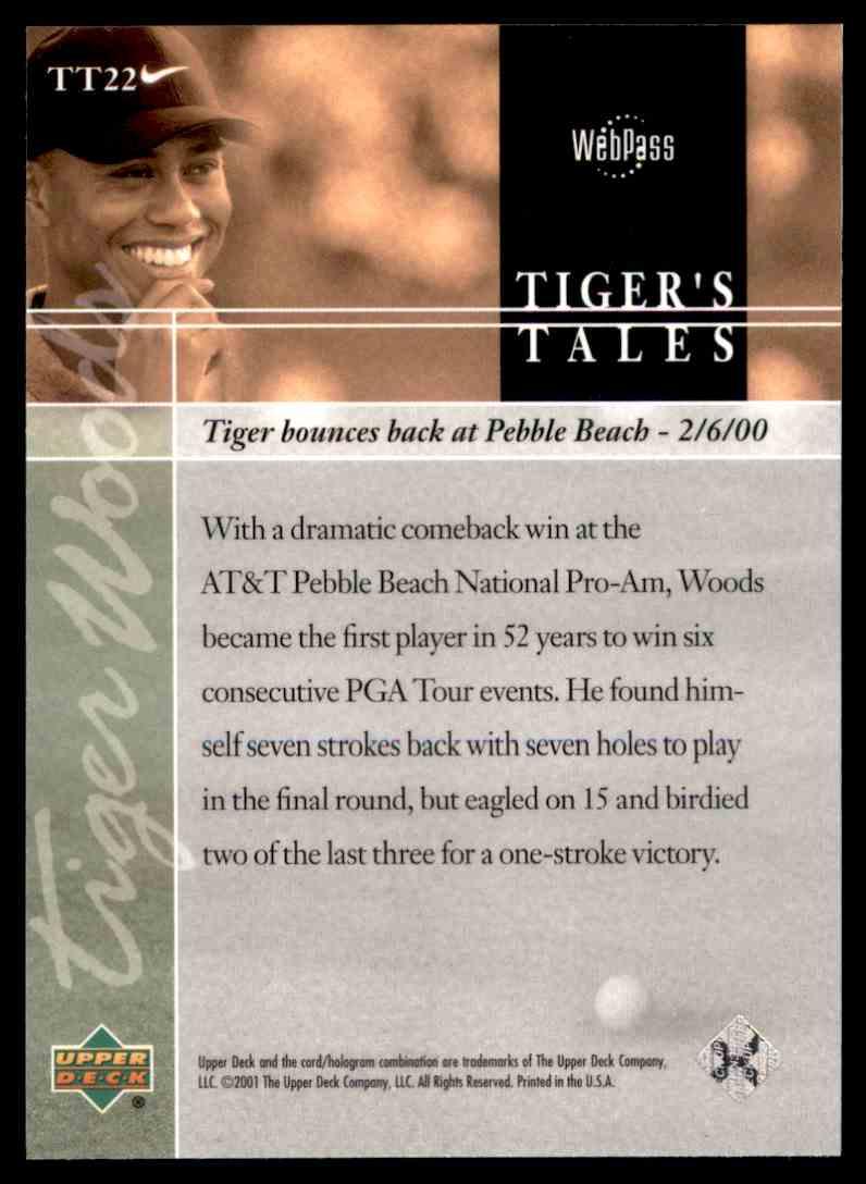 2001 Upper Deck Tiger's Tales Tiger Woods #TT22 card back image