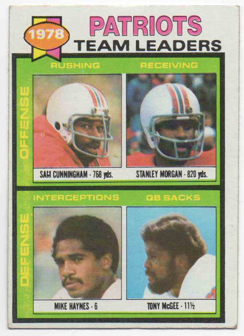 1979 Topps Sam Cunningham, Stanley Morgan, Mike Haynes, Tony McGee #76 card front image